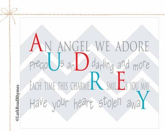 Baby Name Art Infant Gifts Baby Gifts Personalized New Baby Girl Gift Nursery Decor Wall Art Nursery Prints Girl Newborn Poem 8x10 Audrey