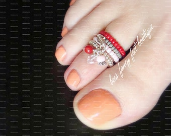 Stacking Toe Ring | Crystal Charms | Red | Grey | Pink | Stretch Bead Toe Ring