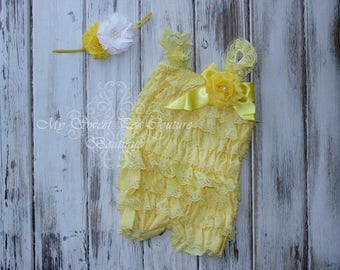 Yellow Embelished Lace Romper & Headband Set- First Birthday Outfit- Petti Romper- Cake Smash Outfit- Newborn Petti Romper- Headband
