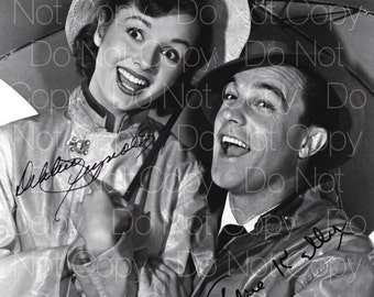 Singin' In The Rain signed Debbie Reynolds Gene Kelly 8X10 photo picture signed autograph RP