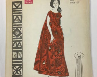 "Vintage Polynesian Pattern # 183 ""Alli"" Misses Hawaiian Maxi Dress Size 12"