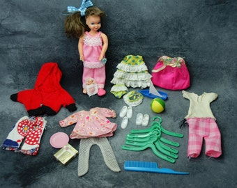 Tutti Doll with Vinyl Play Case  and Clothing - Sea Shore Shorties, Pink PJs, Birthday Beauty Plus Accessories - Ideal Flatsy
