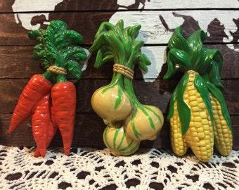 Vintage Chalkware Veggies - Carrots, Onions and Corn Cobs