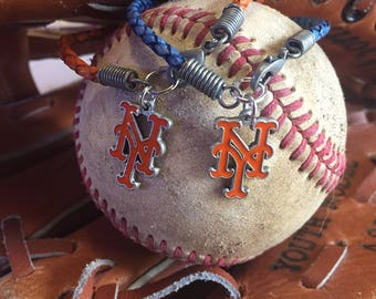 New York Mets Braided Leather Bracelet