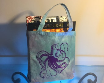 Purple Octopus Screen-printed Tie-dyed Tote