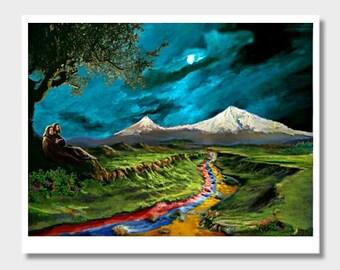 Armenian Flag, Armenian Couple, Armenia at Night, Digital Art, Armenian Decor, Wall Art, Metallic Art, Couple Art, Masis Ararat, Mountains