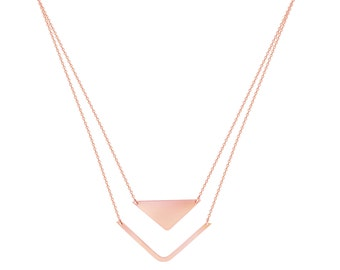 14k Gold Stability and Balance Layered Necklace.
