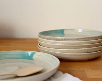Small plate Stoneware Wheel thrown small plate Speckles Turquoise- Ready to ship