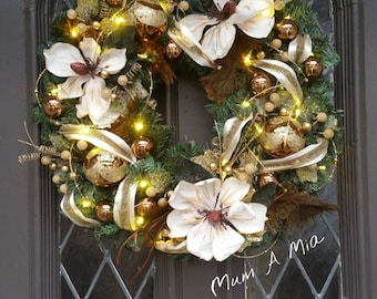 Christmas wreath, lighted wreath, brown gold wreath, Christmas decor, elegant wreath, cordless wreath, battery operated, pine wreath