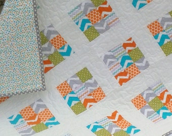 Modern Bright baby/Toddler Quilt and Play Mat