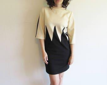 Vintage Black and Tan Color Block Mod Modern Dress