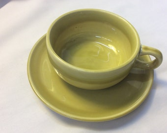 Vintage Russel Wright American Modern chartreuse cup and saucer by Steubenville Pottery