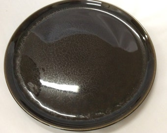 "Vintage Russel Wright American Modern 10"" Dinner plate black chutney color by Steubenville Pottery"