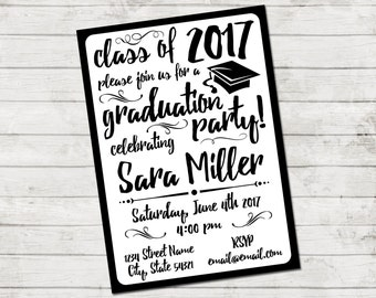 Graduation Party Invitation - Class of 2017 - Graduation Party - Swirls and Grad Cap - Black and White - Printable