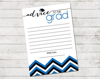Advice to the Grad - Graduate Advice Card - Chevron Stripes - Blue Black and White - Printable - INSTANT DOWNLOAD