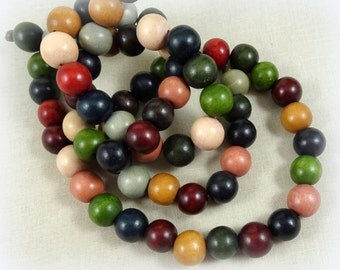 """Wooden Beads - 12mm Wooden Beads, Assorted Colors - 16"""" Strand (35 beads)"""