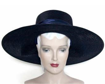 Vintage 1940s Hat//Wide Brim Hat//Designer Mr. John//Navy Blue// Rayon Bow // femme fatale // Couture // 40's Wide Brim Hat