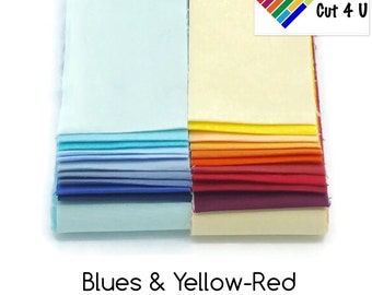"20 x 2.5"" Blue, Yellow-Red Jelly Roll PreCut Fabric Strips, 2.5 inch x WOF, 20 colours, Die Cut"