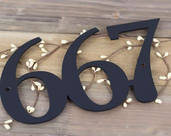 "Custom Outdoor House Number Metal Sign   Custom Sign   Metal House Number   Outdoor Metal Wall Art   Address Sign   3 Digit   9""W x 5.25""H"