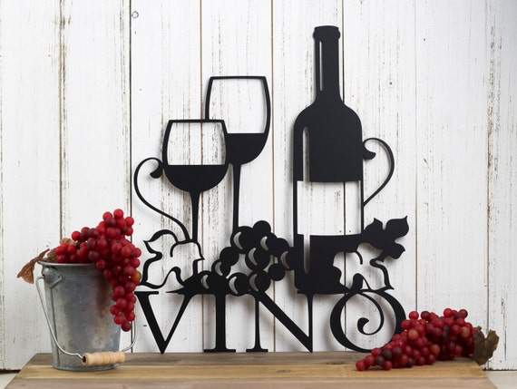 Metal Sculptures And Art Wall Decor: Vino Metal Wall Art Wine Vino Wine Sign Wine Wall