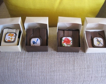 Wooden pendants with images of my original artwork applied- in hand made origami box