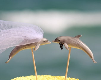 Dolphin Wedding Beach Cake Topper - Mr & Mrs Dolphin - - Beach Chic Wedding