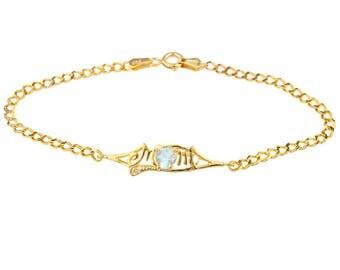 14Kt Yellow Gold Plated Genuine Aquamarine & Diamond Heart Mom Bracelet