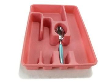 Vintage Cutlery Tray * Pink Silverware Holder * Kitchen Utensil Organizer * Plastic Flatware Divider
