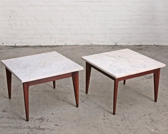 PAIR - Marble + Walnut End Tables