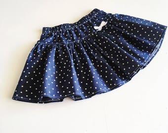 Denim Hearts Twirly Skirt
