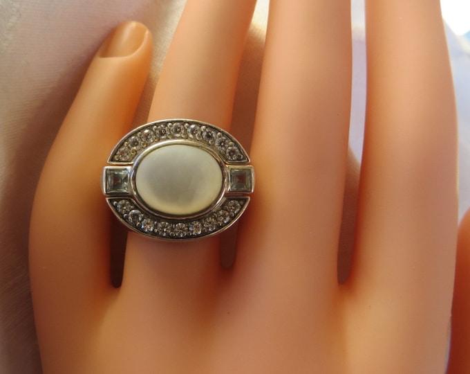 Judith Ripka Ring, Sterling 3 Piece, Moonstone Center Stone, Sparkling CZ Stones.Size 6