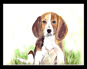 SALE Beagle ORIGINAL watercolor painting Brown Dog art Beagle painting Pet art Pet portrait dog watercolour 14 x 10 inch