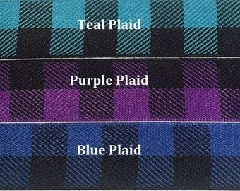 """Custom Dog Collar - Design Your Own - 1"""", 1.5"""" or 2"""" Wide Plaid Prints Ribbon"""