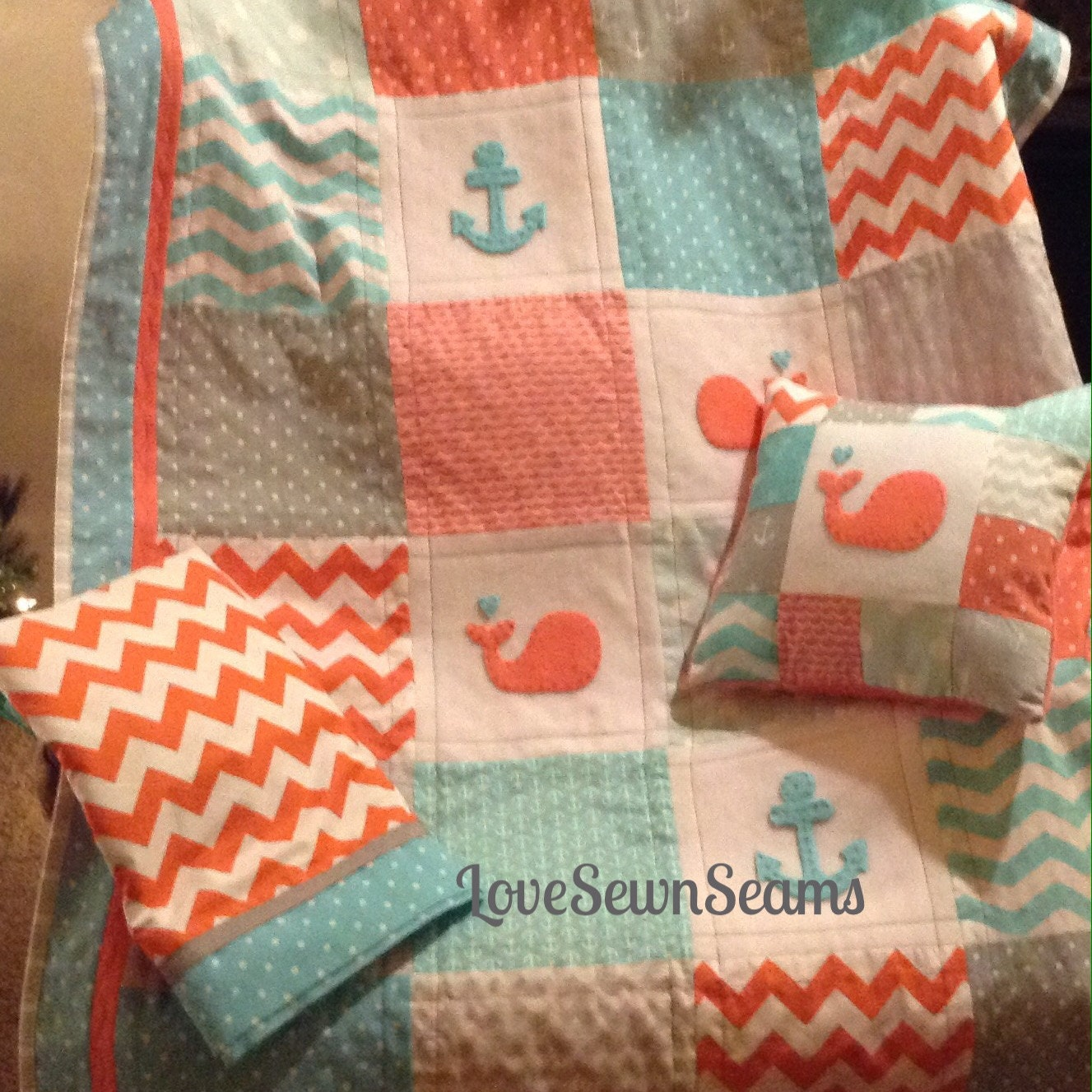 Crib Quilt Size: CORAL GRAY AQUA Crib Size Quilt/Nautical /Coral Quilt