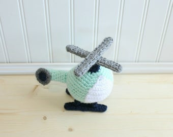 Helicopter Toy - Crochet Helicopter - Baby Shower Gift - Nursery Decor - Baby Nursery - kids Room - Toddler Toys - Baby Gift Under 25