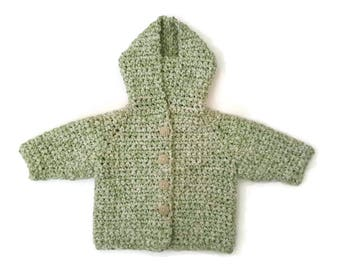 Soft cotton chunky baby boy sweater, baby hooded coat hoodie, green baby, baby shower gift, summer baby jacket.  0-3-6 months