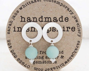 Silver Seafoam Earrings - Silver Drop Studs - Frosted Silver Gemstone Earrings - Bridal Pearl Earrings - Mint Studs - Aqua - Mint Earrings