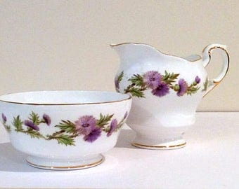 Vintage Paragon Highland Queen Creamer & Open Sugar Bowl Set Wispy Dark Purple Thistles White China Gold Rimmed Replacement China 1950's
