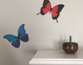 RED Swallowtail Butterfly Sticker - Insect Decal - Summer Butterflies Home Wall Art Decor - Bug Collection Laptop Sticker - FREE SHIPPING
