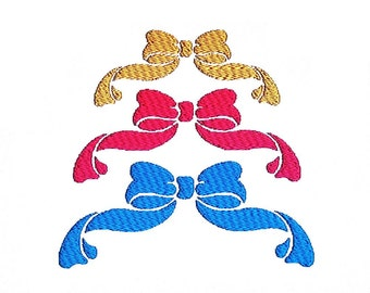 Bow Decor Embroidery Design in 3 Sizes