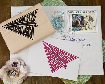 Return To Sender Stamp, Mail Rubber Stamp, Hand Carved Stamp, Envelope Stamp, Mail Art Stamp, Return Rubber Stamp 057