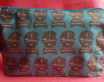 Sherlock on teal inspired toiletries bag  zipped pouch