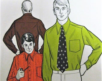 Vintage  70s MENS Shirt and Wide Tie Pattern Sew Knit N Stretch 325 Chest Sizes40-46 Vintage Sewing Pattern UNCUT