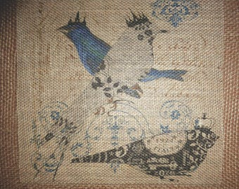 Burlap Picture with French Designer Birds