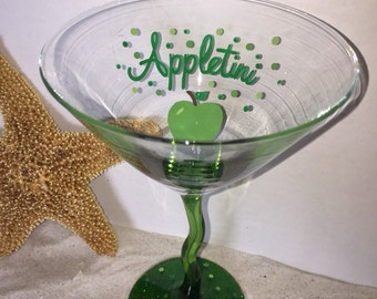 DBEG Hand Painted Appletini Martini glass