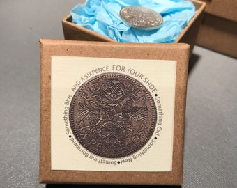 Lucky wedding sixpence in natural brown packaging