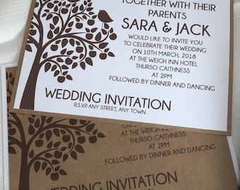 Tree Love Bird Wedding Invitations