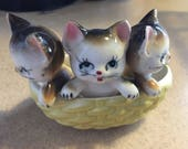Vintage Kittens In A Basket Porcelain Ceramic 1950's Decorative Cats Mid Century Home Decor Child's Room Baby Nursery Farm House Chic Japan