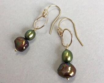 Green and Bronze Pearl Earrings