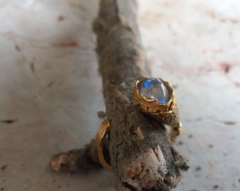 Solitaire Rainbow Moonstone Gold Plated Ring